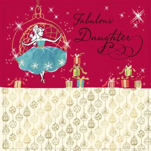 Daughter Christmas Card with Gold Foiling, Contemporary Design and Red Envelope KIS16